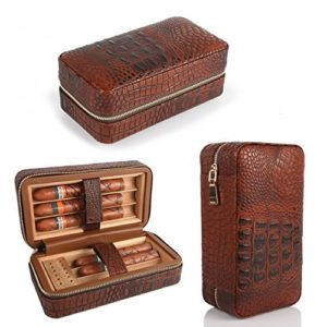 LAGUTE Groucho Cigar Case Travel Genuine Leather Humidor