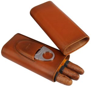 AMANCY Top Quality 3- Finger Brown Leather Cigar Case