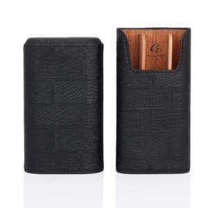 GALINER Cigar Case Genuine LeatheCedar Wood Lined Cigar Holder 60 Gauge Cigar Portable Travel Box 3 Cigars Mini Humidor