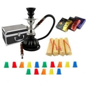 2 Hose Hookah Glass Water Pipe Vase Nargila with Charcoal